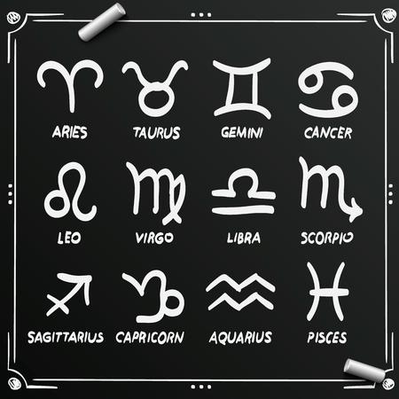 scorpion fish: Chalkboard sketch zodiac signs set icons art Illustration