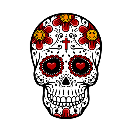Day Of The Dead Skull. Schedel van de suiker, bloem. Skull tattoo. vector illustratie