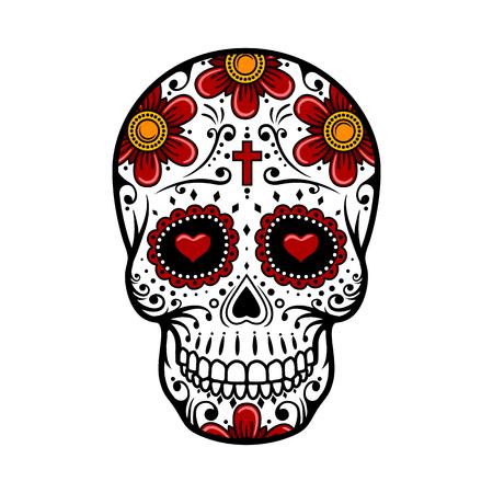 cross tattoo symbol: Day Of The Dead Skull. Skull sugar flower. Skull tattoo. Vector illustration