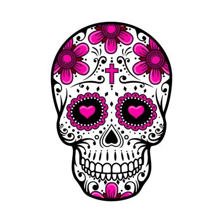 calavera: Día del cráneo muerto. flores de azúcar cráneo. tatuaje del cráneo. ilustración vectorial
