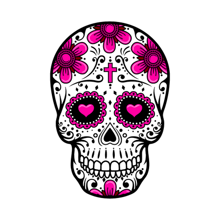 mexico: Day Of The Dead Skull. Skull sugar flower. Skull tattoo. Vector illustration