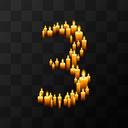 Tribulation numbers 3 of candles, transparent background, template design element Illustration