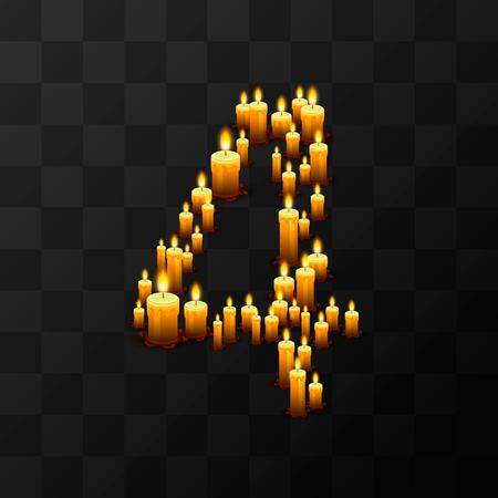 Tribulation numbers 4 of candles, transparent background, template design element Illustration
