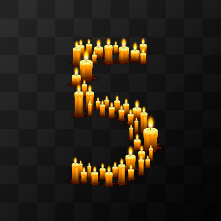 Tribulation numbers 5 of candles, transparent background, template design element