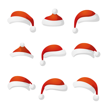 hat cap: New Year hat set collection red cap. Vector illustration