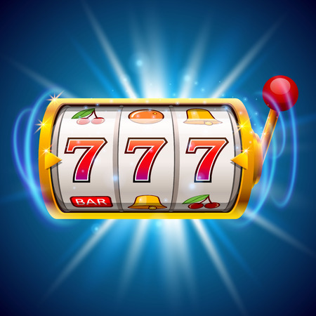 Golden slot machine wins the jackpot. Isolated on blue background. Stock Illustratie