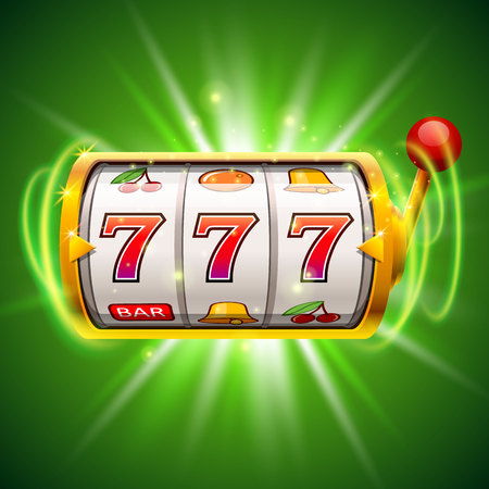 Golden slot machine wins the jackpot. Isolated on green background.