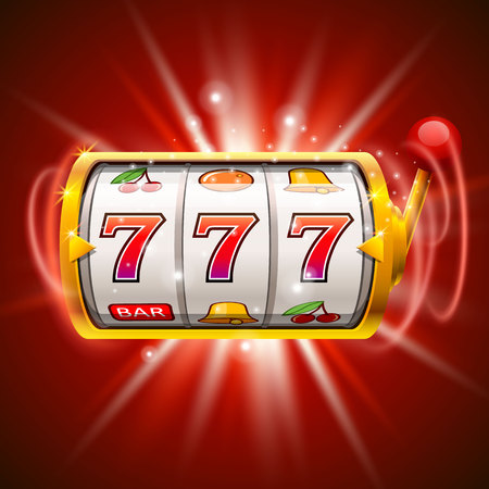 Golden slot machine wins the jackpot. Isolated on red background. Reklamní fotografie - 72941747