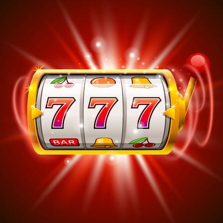 Gouden gokautomaat wint de jackpot. Geïsoleerd op rode achtergrond.