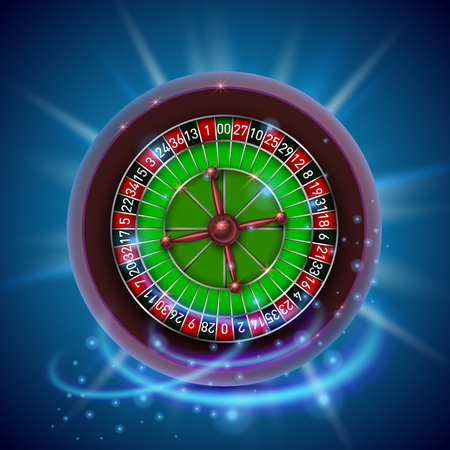fortune: Realistic casino gambling roulette wheel. Cover background.