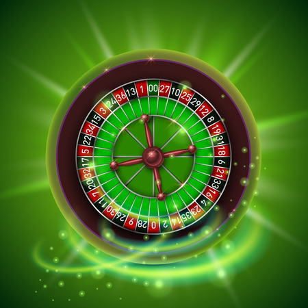 Realistic casino gambling roulette wheel, isolated on green background.