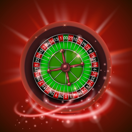 Realistic casino gambling roulette wheel, isolated on red background.