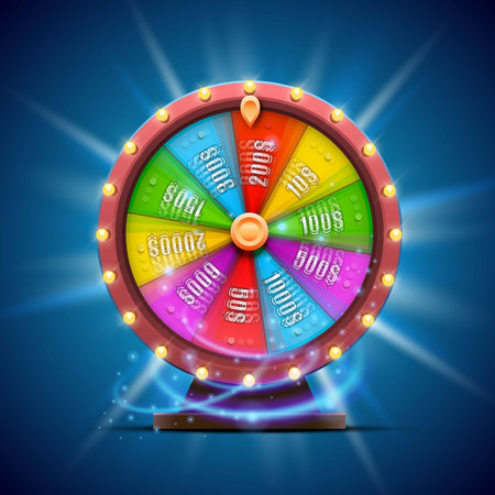 Kleurrijke Rad van Fortuin. geïsoleerd op een blauwe achtergrond. Vector Illustratie