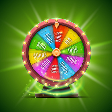 spinning: Colorful fortune wheel. isolated on green background.