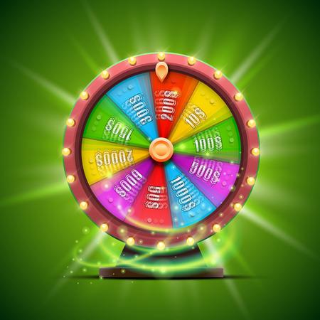 rueda de la fortuna: rueda de la fortuna de colores. aislado en el fondo verde.
