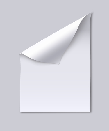 blank page: Blank paper sheet with page curl.