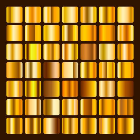 Collection metallic and golden gradient illustration. Set gold gradients. Golden squares collection. Golden background texture. Vector illustration