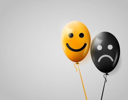 amarillo y negro: Las caras felices y tristes. Globos amarillos y negros. Vectores
