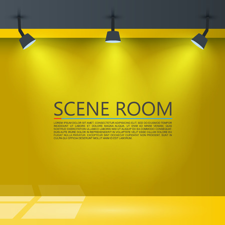domestic room: Room with a light source illustration.
