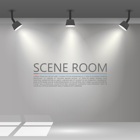 clean floor: Room with a light source. Vector illustration