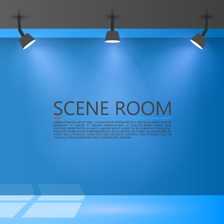 domestic room: Room with a light source. Vector illustration