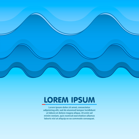Waves, clouds or mountains seamless light blue background. illustration.