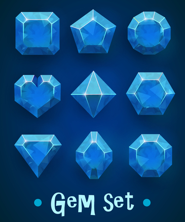 Set of realistic blue gems of various shapes. Sapphire collection. Elements for mobile games or decoration.
