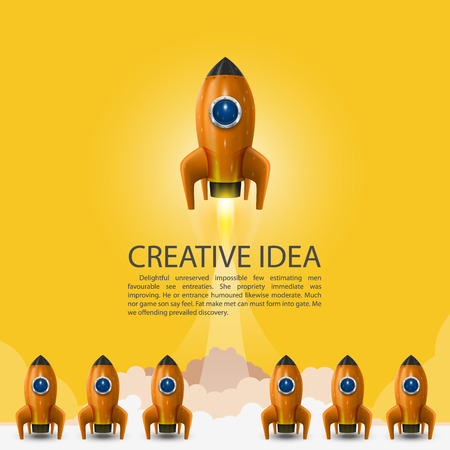 liftoff: Space leader rocket launch, Creative idea, Vector illustration