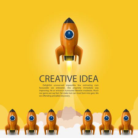 Space leader rocket launch, Creative idea, Vector illustration