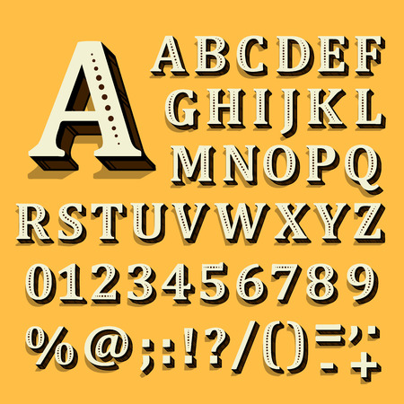 Yellow and white font on black background. The alphabet contains letters. Vector