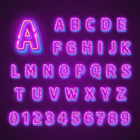 Fluorescent neon font on dark background. Nightlight alphabet. Vector illustration. Иллюстрация