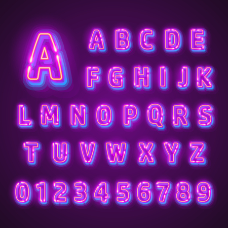 Fluorescent neon font on dark background. Nightlight alphabet. Vector illustration. Illustration