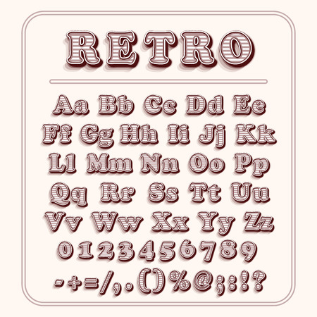 retro font: Retro font on light red background. The alphabet contains letters