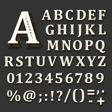 Black and white font on black background. The alphabet contains letters