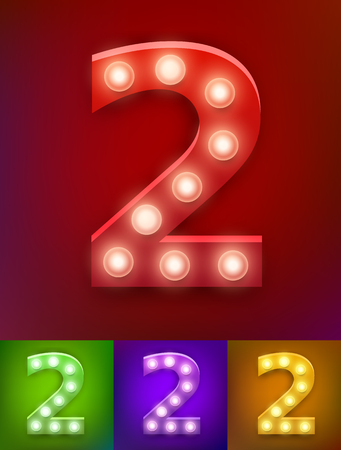 Vector illustration of realistic old lamp alphabet for light board. Vintage vegas show typography. Number 2