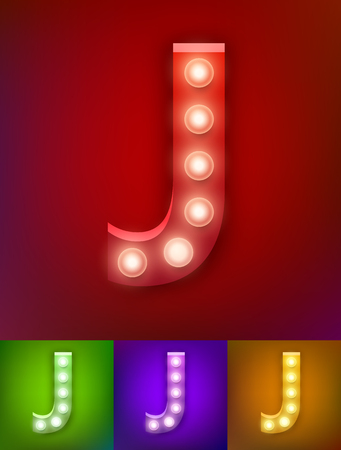 Vector illustration of realistic old lamp alphabet for light board. Vintage vegas show typography. Letter J Illustration