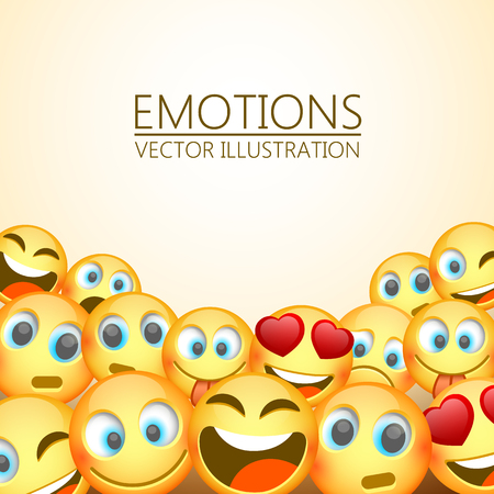 Modern yellow laughing three Emoji, Emotions background, Vector illustration