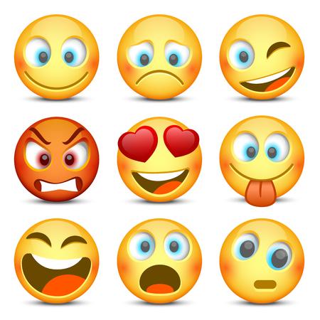 Emoji en verdrietig pictogram set. Vector illustratie