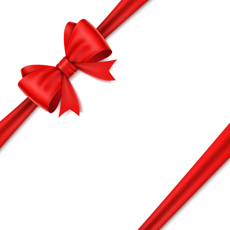 Beautiful realistic red bow on white background. Illustration