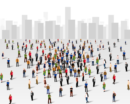 people: Large group of people over the city. Business concept.