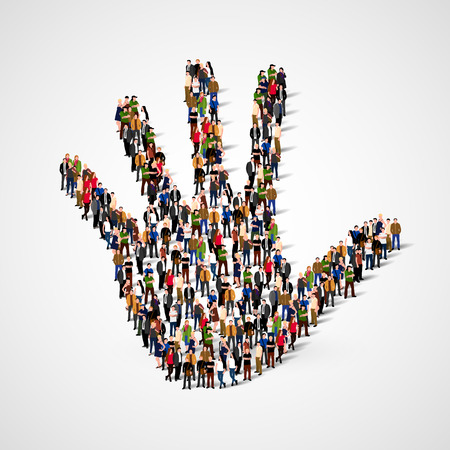 hi five: Large group of people in form of hand icon. Care, friendship, support or family concept.