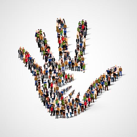 Große Gruppe von Menschen in Form von helfende Hand-Symbol. Pflege, Adoption, Schwangerschaft oder Familienkonzept.