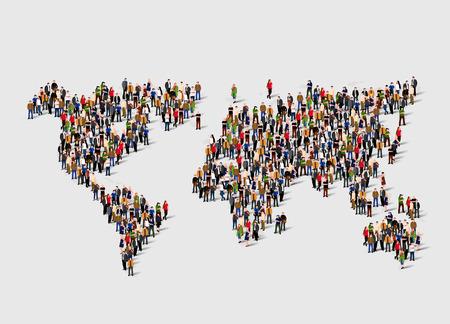 Grupa ludzi w formie mapy świata. Globalizacja, populacja, koncepcja społeczna. Ilustracje wektorowe