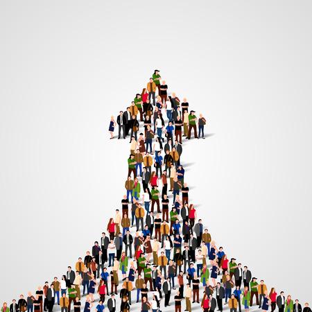 Grote groep mensen in de vorm van een extrapolerende pijl. Weg naar succes. Bedrijfsconcept.
