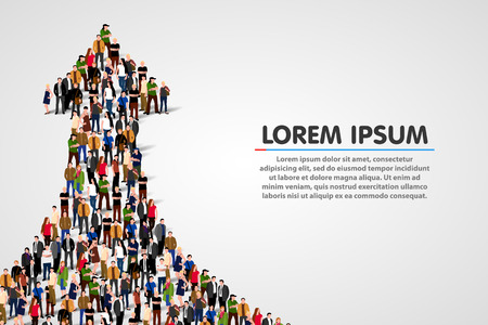 Large group of people in the shape of a grossing arrow. Way to success. Business concept. Ilustração