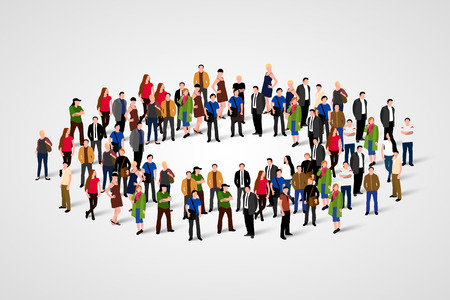 circulo de personas: Large group of people in the shape of circle.