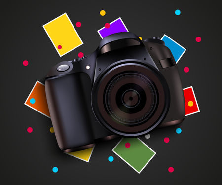 picture card: Camera and pictures. Photo shooting background. Modern design template. Illustration