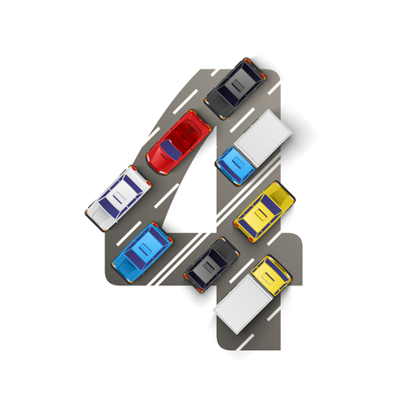 truck driver: Road with cars in the form of number four. Vector illustration