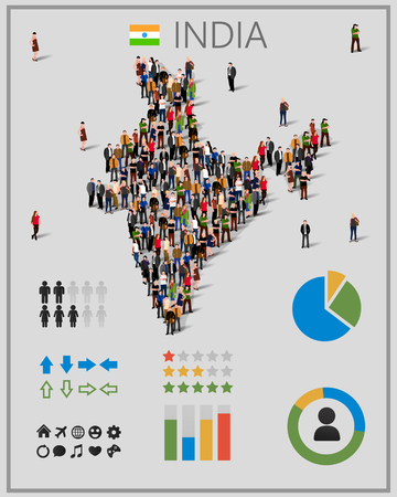 obra social: Large group of people in India map with infographics elements. Background for presentation.
