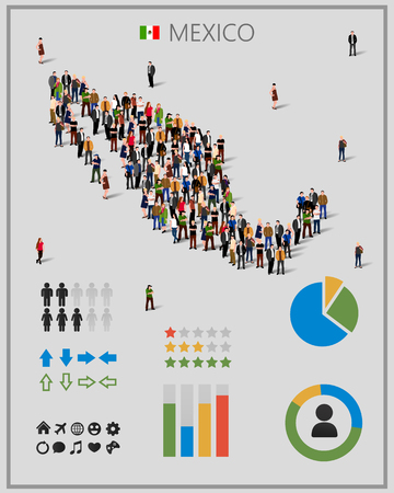 migrant: Large group of people in form of Mexico map with infographics elements.